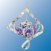 Chrome Plated Teapot in Spiral ... Hanging Sun Catcher or Ornament..... With Purple Colour. Austrian Crystal