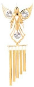 24K Gold Plated Wind Chime Sun Catcher or Ornament..... Angel holding Doves With Clear. Austrian Crystal