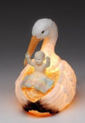 Meticulous Large Stork Holding Baby in Nest Decorative Nite Light