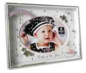 Cupecoy Design Metal Baby of the Year Photo Frame Girls