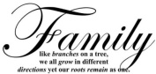 "WallStickerUSA Medium ""Family like branches on a tree, we all grow in different directions yet our roots remain as one."" Quote Saying Wall Sticker Decal Transfer Film 17x25"