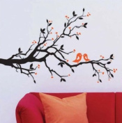 WallStickersUSA Contemporary Wall Sticker Decal, Tree Branches, Leaves, Lovebirds, and Hearts, X-Large