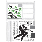Reusable Decoration Wall Sticker Decal - Audrey Windowsill Guitar Song Serenade
