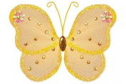 Hanging nylon butterfly craft nursery bedroom girls room ceiling wall decor, wedding birthday party baby bridal shower decorations - Adelaide Butterfly Decoration - 12.7cm orange
