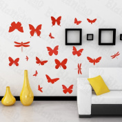 [Red Flying Butterflies] Decorative Wall Stickers Appliques Decals Wall Decor Home Decor