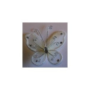 24 Ivory Organza Nylon Wire Butterfly Wedding Arts and Crafts Decorations 5.1cm Big