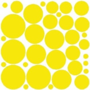 34 YELLOW POLKA DOTS...WALL STICKERS DECALS ART DECOR
