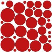 34 DARK RED POLKA DOTS..WALL STICKERS DECALS ART DECOR