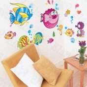 [Happy Fish Family] Decorative Wall Stickers Appliques Decals Wall Decor Home Decor