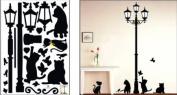 Cats & Lamp - Large Wall Decals Stickers Appliques Home Decor