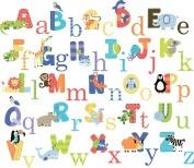 CherryCreek Decals Animal Alphabet Nursery Peel & Stick Wall Art Sticker Decals for Boys and Girls