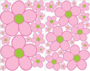 Pink with Green centre Daisy Wall Stickers, Decals, Decor