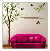 WallStickersUSA Tree with Flying Birds Wall Sticker, Brown, Green, X-Large