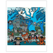 Matthew Porter Art Wall Decor Art Print, Halloween Monkey