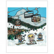 Matthew Porter Art Wall Decor Art Print, Ski Slopes Monkey
