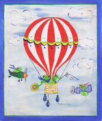 The Kids Room It's a Boy! Frogs on a Blimp Rectangle Wall Plaque