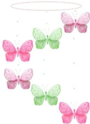 Butterfly Mobile Dark Pink (Fuchsia) Green Pink Shimmer Spiral Nylon Butterflies Mobiles Decorations - Decorate for a Baby Nursery Bedroom, Girls Room Hanging Ceiling Decor, Wedding Birthday Party, Bridal Baby Shower, Bathroom. Butterfly Decoration 3D  ..