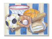 The Kids Room Sports with Blue and White Stripes Rectangle Wall Plaque