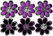 Purple Animal Print octi- petal Flowers Wall Stickers, Decals