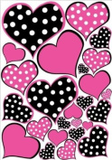 Hot Pink and Black Polka dot Heart Wall Decals Stickers