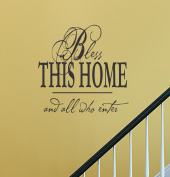Bless this home and all who enter vinyl Wall Decals Quotes Sayings Words Art Decor Lettering vinyl wall art inspirational uplifting