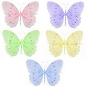 Glitter Butterflies Decor 5 piece Butterfly Set (Pink, Purple, Yellow, Blue, Green) - hanging butterfly nylon butterflies girls room baby nursery bedroom wall ceiling decor bridal baby shower birthday party wedding favour craft decoration