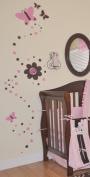DK Leigh Vinyl Wall Art Motif Pink & Brown for Sweet Butterfly Design