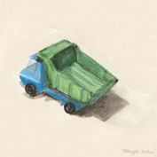 Blue And Green Dump Truck Canvas Reproduction