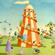 Oopsy Daisy Carnival Rides Stretched Canvas Wall Art by Alison Jay, 45.7cm by 45.7cm