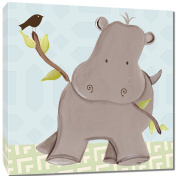 Doodlefish Gallery-Wrapped 45.7cm x45.7cm Wall Art, Henry Hippo