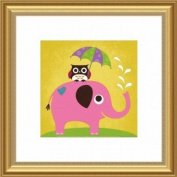 Barewalls Wall Decor, Elephant and Owl with Umbrella