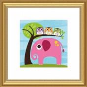 Barewalls Wall Decor, Elephant with Three Owls