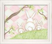 Doodlefish Framed 18'x38.1cm Wall Art, Bunny Pink Diamond