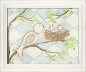 Doodlefish Framed 18'x38.1cm Wall Art, Bird Blue Diamond