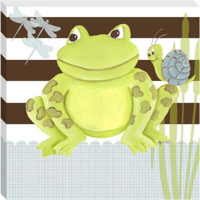 Doodlefish Gallery-Wrapped 45.7cm x45.7cm Wall Art, Frog on Stripes