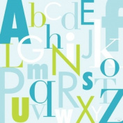 Oopsy Daisy Modern Letters Blue and Green Stretched Canvas Wall Art by Patchi Cancado, 53.3cm by 53.3cm