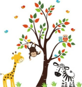 Baby Nursery Wall Decals Safari Jungle Children's Themed 210.8cm X 208.3cm (Inches) Animals Trees Monkey Zebras Giraffes Wildlife Made of Seramark Material Repositional Removable Reusable
