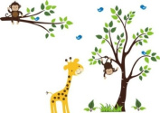 Baby Nursery Wall Decals Safari Jungle Children's Themed 210.8cm X 203.2cm (Inches) Animals Trees Monkey Giraffes Wildlife Made of Seramark Material Repositional Removable Reusable