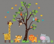 Baby Nursery Wall Decals Safari Jungle Childrens Themed 210.8cm X 256.5cm (Inches) Animals Trees Monkey Lions Tigers Hippo Owls Giraffe Wildlife Made of Seramark Material Repositional Removable Reusable