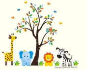 Baby Nursery Wall Decals Safari Jungle Childrens Themed 210.8cm X 246.4cm (Inches) Animals Trees Zebra Giraffe Lion Zebra Owls Wildlife Made of Seramark Material Repositional Removable Reusable