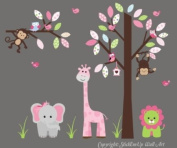 Baby Nursery Wall Decals Safari Jungle Childrens Themed 188cm X 241.3cm (Inches) Animals Trees Monkey Elephant Giraffe Lions Owls Wildlife Made of Seramark Material Repositional Removable Reusable