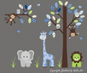 Baby Nursery Wall Decals Safari Jungle Childrens Themed 188cm X 241.3cm (Inches) Animals Trees Monkey Elephant Giraffe Tigers Owls Wildlife Made of Seramark Material Repositional Removable Reusable