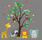 Baby Nursery Wall Decals Safari Jungle Children's Themed 223.5cm X 228.6cm (Inches) Animals Trees Monkey Zebras Giraffes Lions Elephants Wildlife Made of Seramark Material Repositional Removable Reusable Wall Fabric