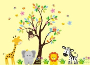 Baby Nursery Wall Decals Safari Jungle Childrens Themed 210.8cm X 246.4cm (Inches) Animals Trees Monkey Zebras Lions Elephants Giraffes Wildlife Made of Seramark Material Repositional Removable Reusable