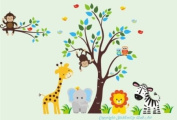 Baby Nursery Wall Decals Safari Jungle Childrens Themed 210.8cm X 317.5cm (Inches) Animals Trees Monkey Zebra Giraffe Elephant Lion Owls Wildlife Made of Seramark Material Repositional Removable Reusable