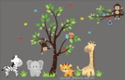 Baby Nursery Wall Decals Safari Jungle Childrens Themed 210.8cm X 350.5cm (Inches) Animals Trees Monkey Elephant Giraffes Tigers Owls Wildlife Made of Seramark Material Repositional Removable Reusable