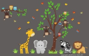 Baby Nursery Wall Decals Safari Jungle Children's Themed 215.9cm X 373.4cm (Inches) Animals Trees Monkey Zebras Giraffes Elephants Lions Wildlife Made of Seramark Material Repositional Removable Reusable Wall Fabric