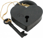 HomArt Cast Iron Heart Lock and Key, Black