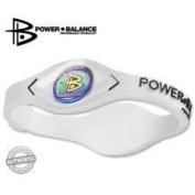 Power Balance Wristband Balance Bracelet 100% Surgical Grade Silicone (White/Black lettering) size Medium