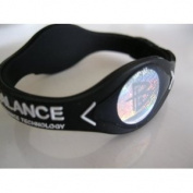 Power Balance Silicone Wristband Bracelet Small Black W/White Letters
